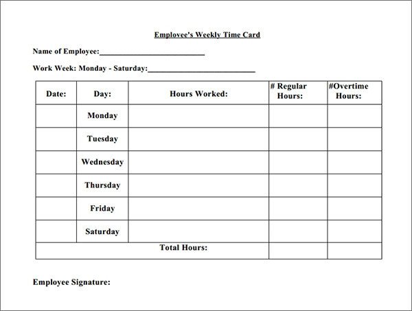 Time Card Template Free 15 Time Card Calculator Templates