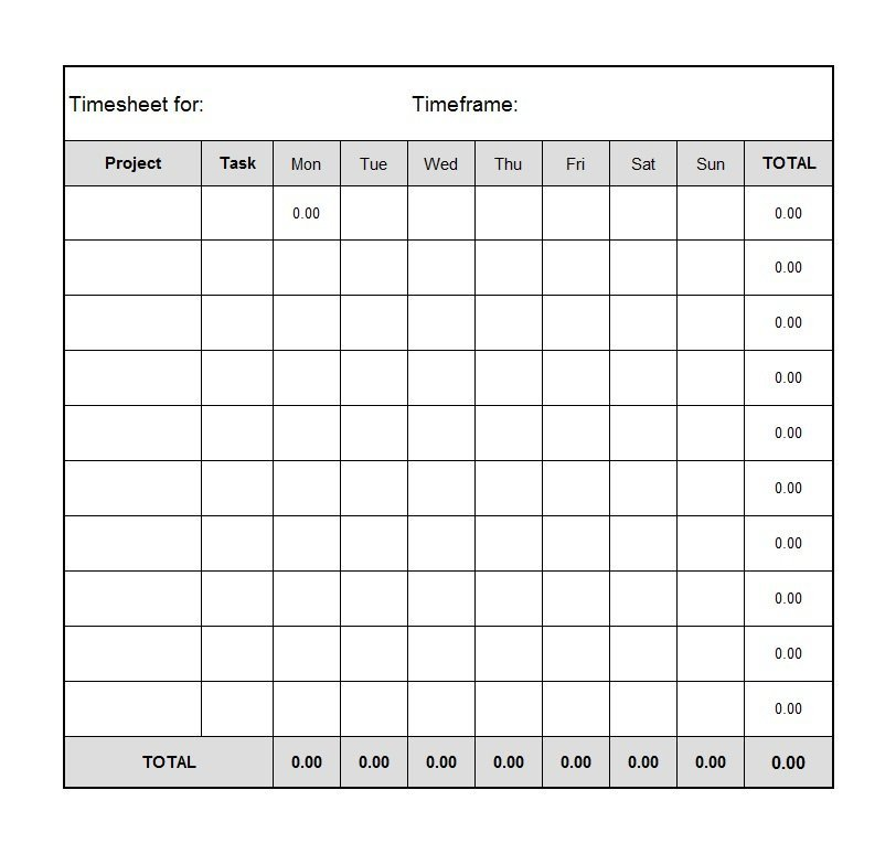Time Card Template Free 40 Free Timesheet Time Card Templates Template Lab