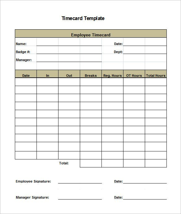 Time Card Template Free 7 Printable Time Card Templates Doc Excel Pdf