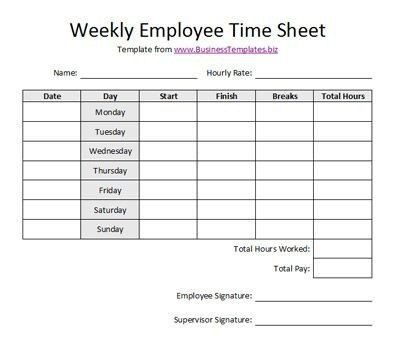 Time Card Template Free Free Printable Timesheet Templates