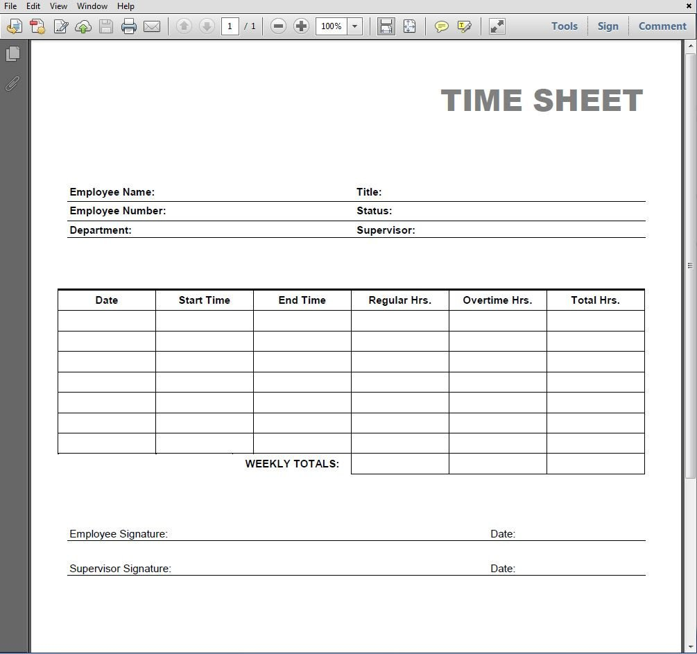 Time Card Template Free Printable Blank Pdf Time Card