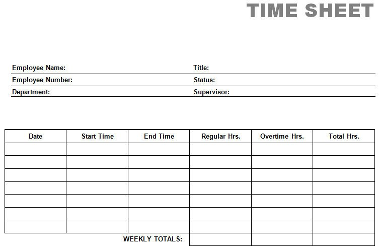 Time Card Template Free Printable Blank Pdf Time Card Time Sheets