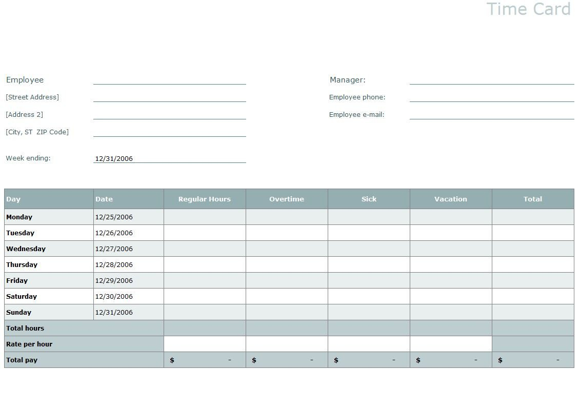 Time Card Template Free Time Card Template