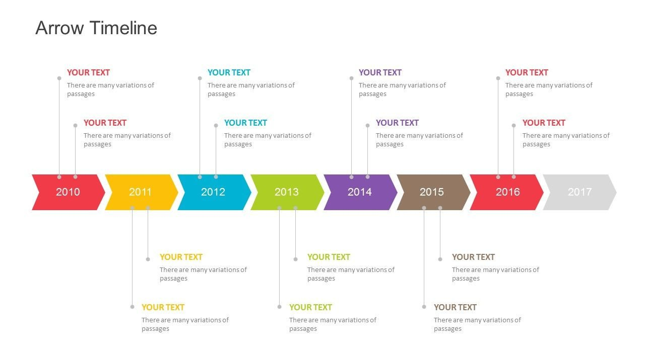 Timeline Templates for Powerpoint Arrow Timeline Template for Powerpoint Fully Editable
