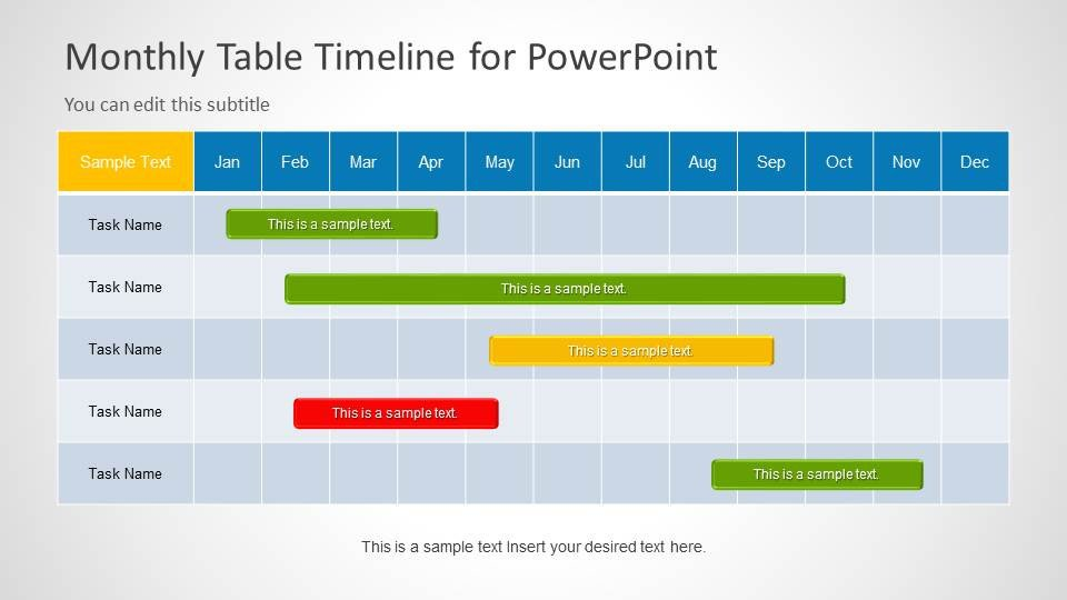Timeline Templates for Powerpoint Table Timeline Template for Powerpoint Slidemodel