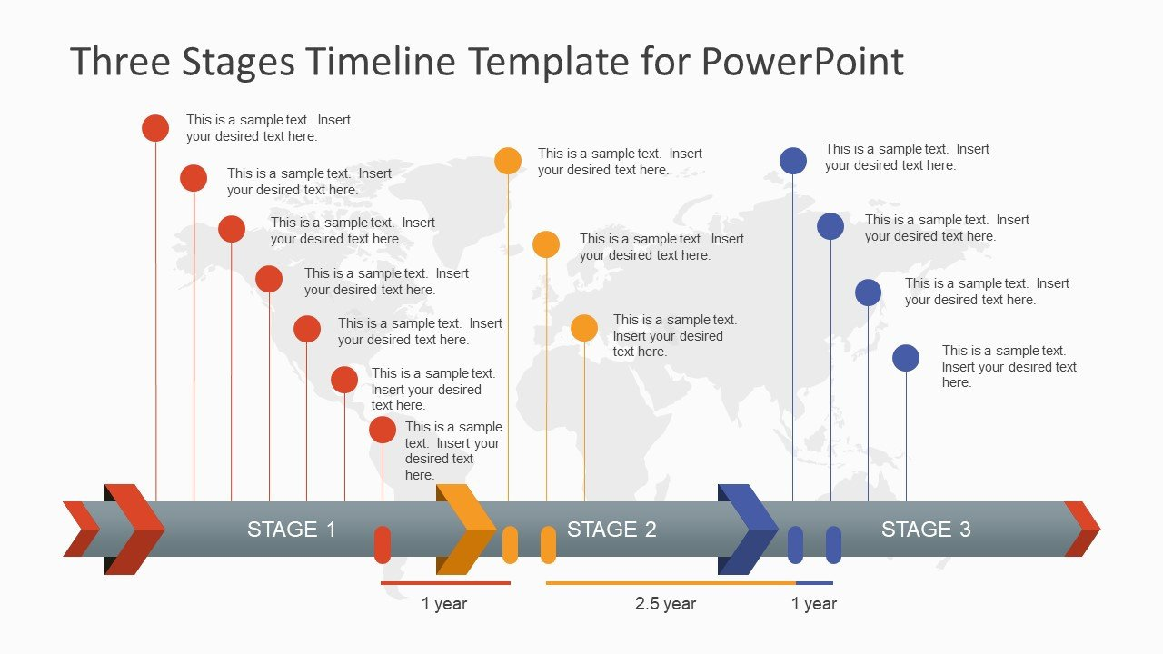 Timeline Templates for Powerpoint Three Stages Timeline Template for Powerpoint Slidemodel