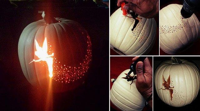 Tinkerbell Pumpkin Carving Patterns Diy Tinker Bell Pixie Dust Pumpkin Carving