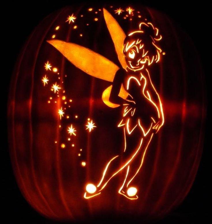 Tinkerbell Pumpkin Carving Patterns Glowing Tinkerbell Pumpkin Tinkerbell Pumpkins