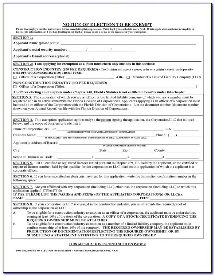 Tn Workers Comp Exemption form How to Fill Out Workers P forms form Resume