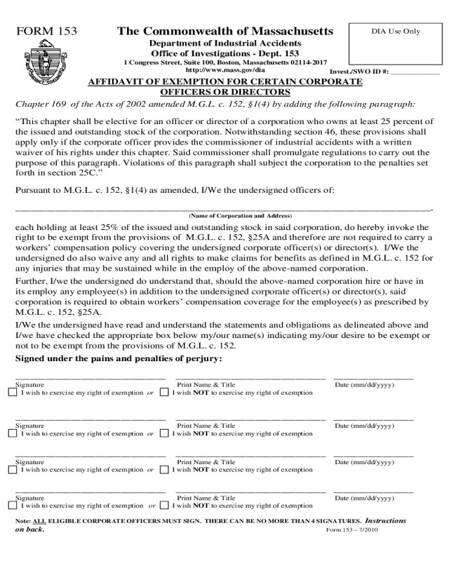 Tn Workers Comp Exemption form Workers Pensation form Massachusetts Edit Fill