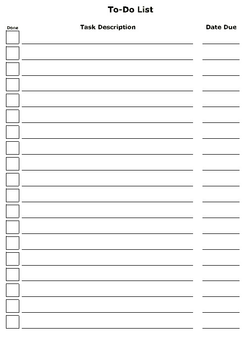 To Do List Template Word 6 to Do List Templates Excel Pdf formats