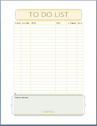 To Do List Template Word Ms Word Personal Tasks to Do List Template