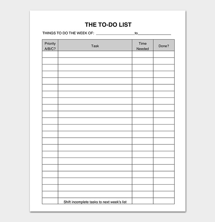 To Do List Template Word Things to Do List Template 20 Printable Checklists