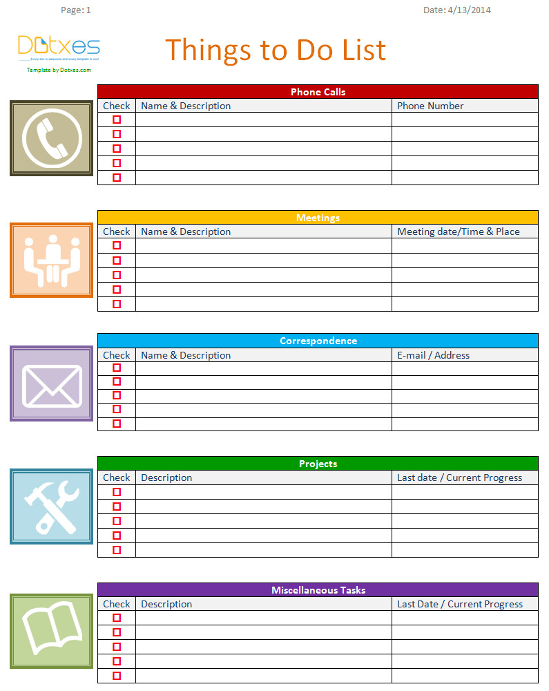 To Do List Template Word to Do List Template Business Version Dotxes