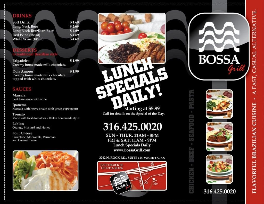 To Go Menu Template Bossa Grill to Go Menu Design This is A Tri Fold Brochure