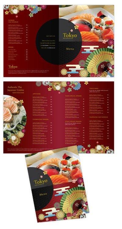 To Go Menu Template Japanese Sushi Restaurant Bi Fold to Go Menu Template