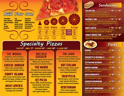 To Go Menu Template Pizza to Go Menu 8 5 X 11 Pizza0101 Uv Gloss