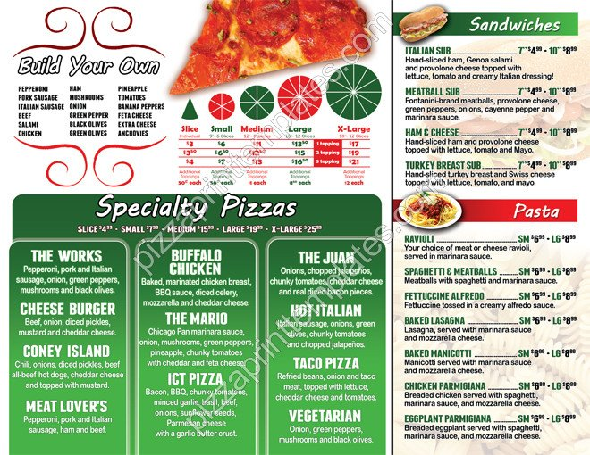 To Go Menu Template Pizza to Go Menus Red Style Design and Print Templates 8
