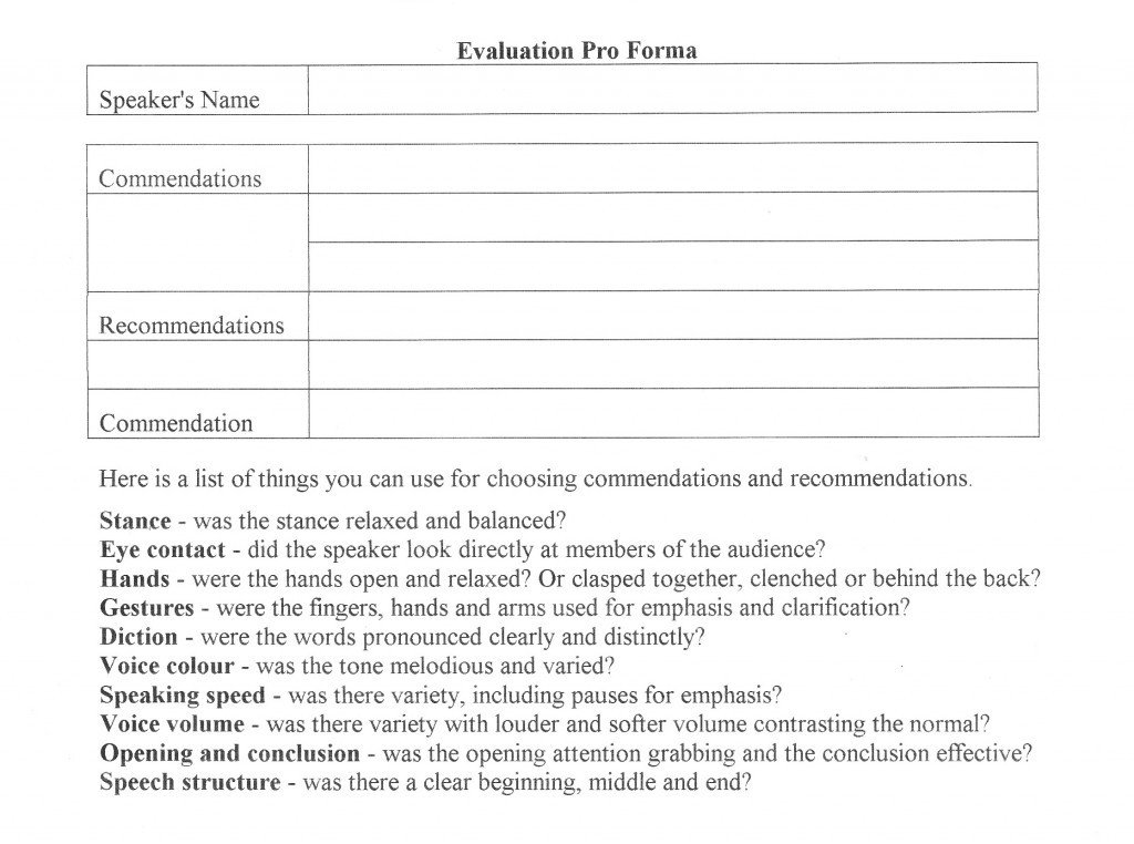 Toastmasters Speech Evaluation form Evaluation Guide Fremantle toastmasters Vq Public