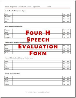 Toastmasters Speech Evaluation form Speech Evaluation forms