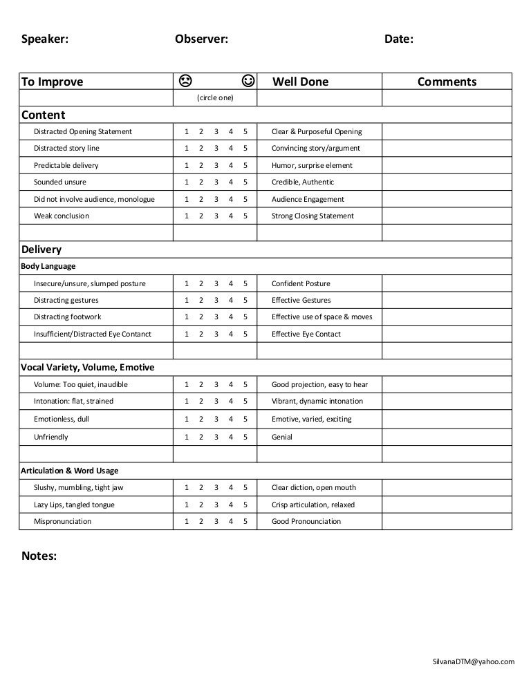 Toastmasters Speech Evaluation form Speech Feedback form
