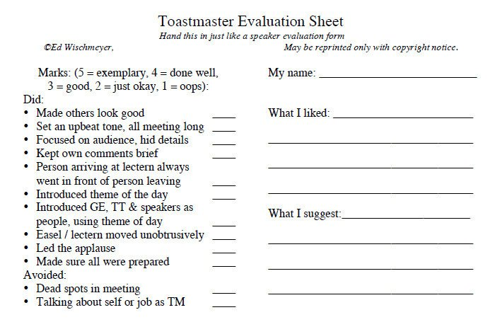 Toastmasters Speech Evaluation form toastmaster Evaluation Template – 20 Free Word Pdf