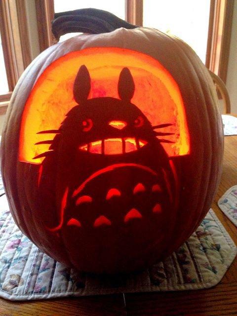 Totoro Pumpkin Pattern 42 Geek and Nerdy Pumpkin Ideas for Halloween Digsdigs