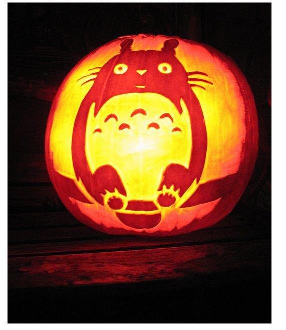Totoro Pumpkin Pattern totoro Jack O' Lantern Stencil – Biblioklept
