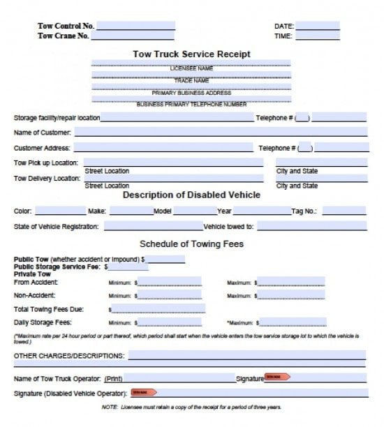 Tow Truck Receipt Template Free towing Invoice Template