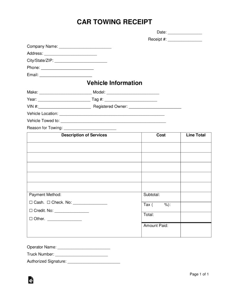 Tow Truck Receipt Template Free Vehicle towing Receipt Template Word Pdf
