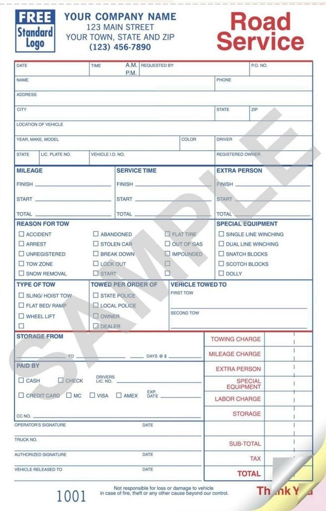 Tow Truck Receipt Template Sample towing Invoice Template towing Invoice Template