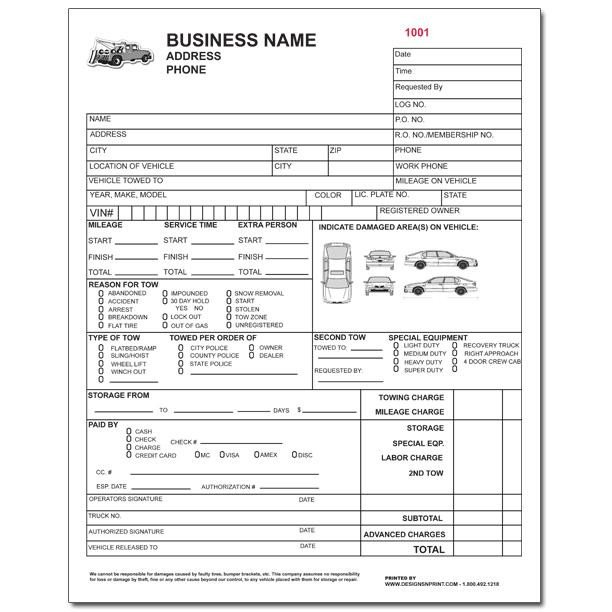 Tow Truck Receipt Template towing Invoice Roadside Service forms