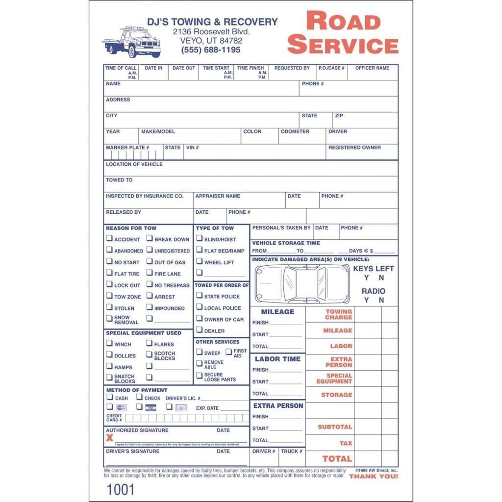 Tow Truck Receipt Template towing Service Invoice towing Service Invoice Invoic