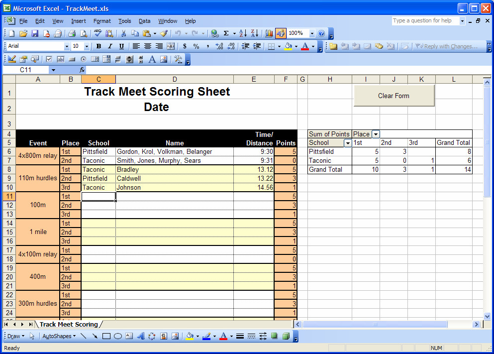 Track Meet Scoring Spreadsheet Berkshire Sports Berkshire Sports Track Meet Scoring Sheet