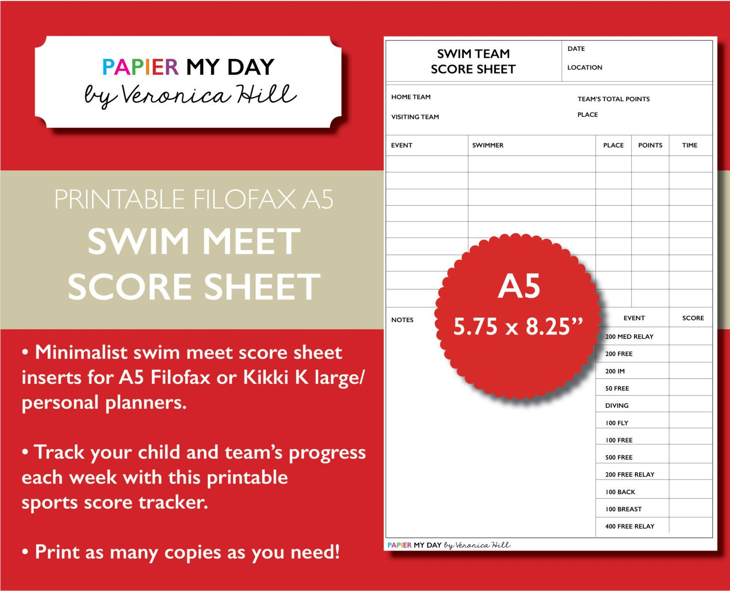 Track Meet Scoring Spreadsheet Printable A5 Filofax Swim Meet Score Sheet Swim Meet Score