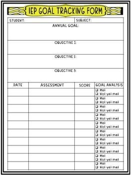 Tracking Student Progress Template Iep Annual Goals and Objectives Tracking Sheet