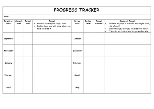 Tracking Student Progress Template Pupil Tracking Sheet by Jxn Teaching Resources Tes