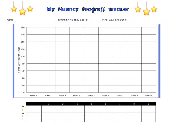 Tracking Student Progress Template Tracking My Progress Fluency