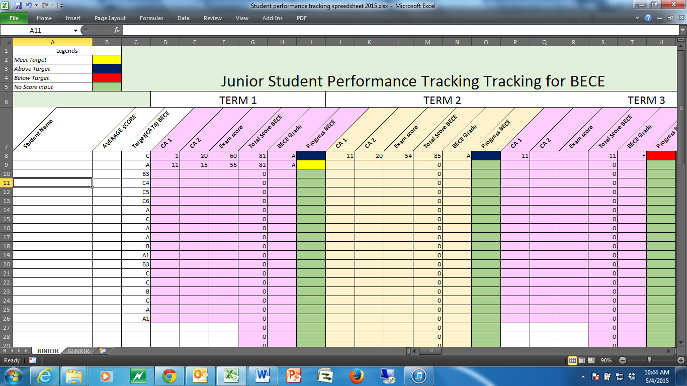 Tracking Student Progress Template Tracking Students Performance In A Dual Curriculum School