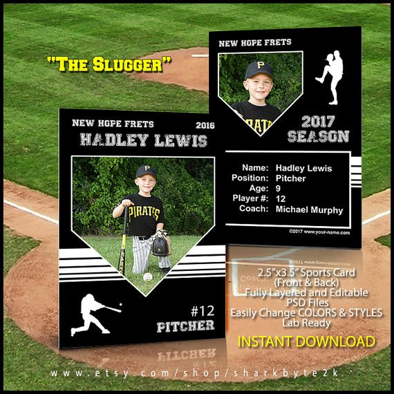 Trading Card Template Photoshop Baseball Card Template Perfect for Trading Cards for Your