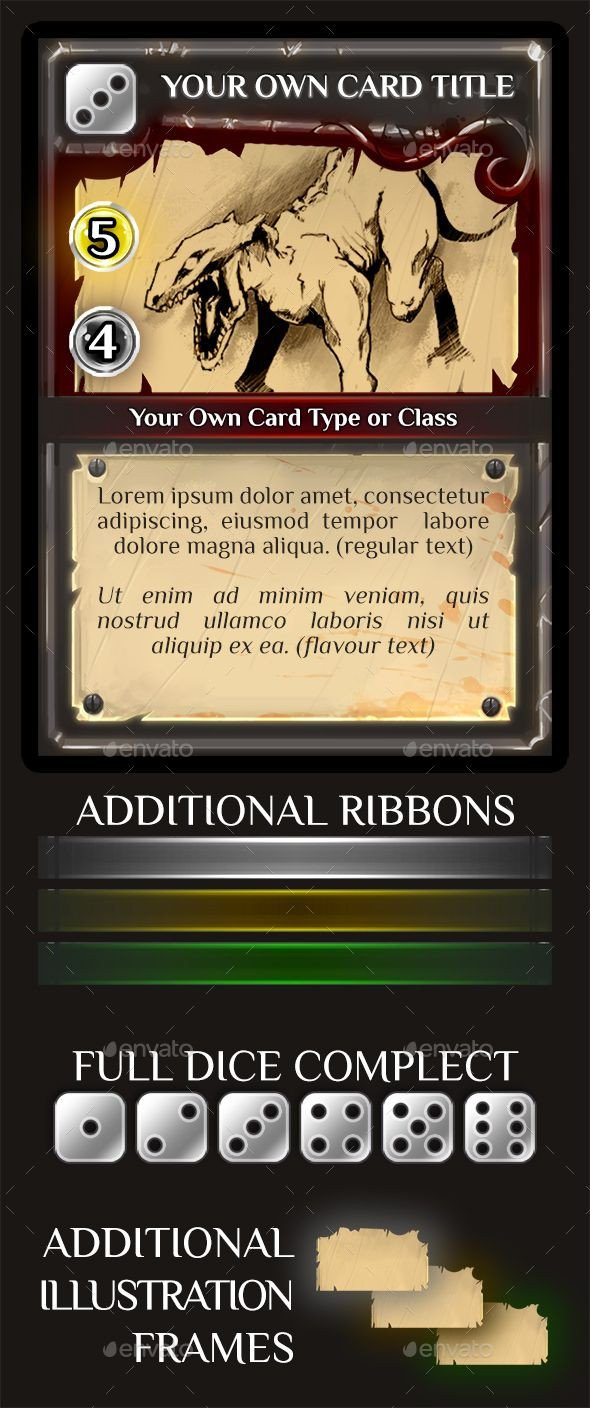 Trading Card Template Photoshop Fantasy Trading or Collectible Card Template