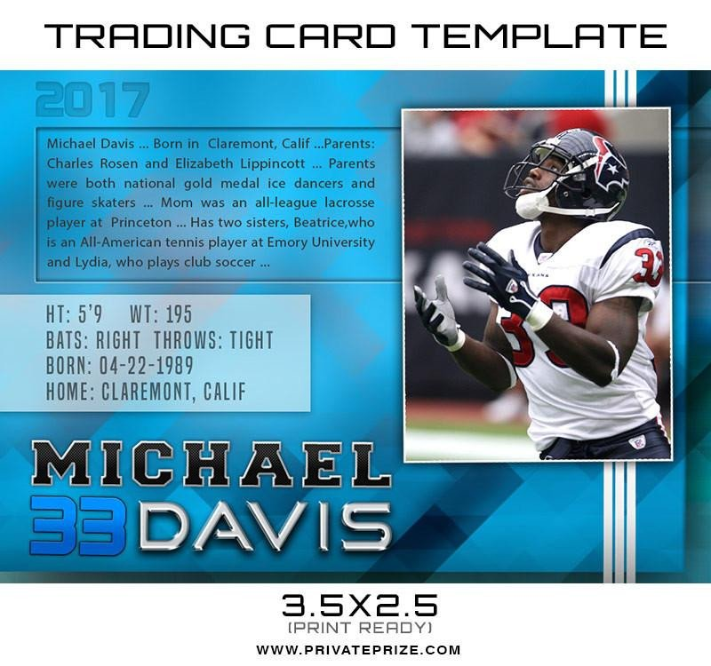 Trading Card Template Photoshop Michael Sports Trading Card Template