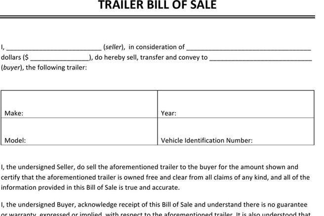 Trailer Bill Of Sale Bill Of Sale form