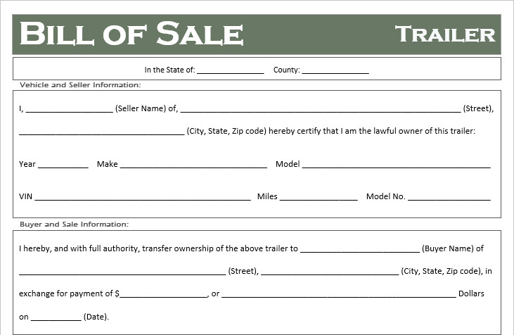Trailer Bill Of Sale Free Printable Trailer Bill Of Sale All States F