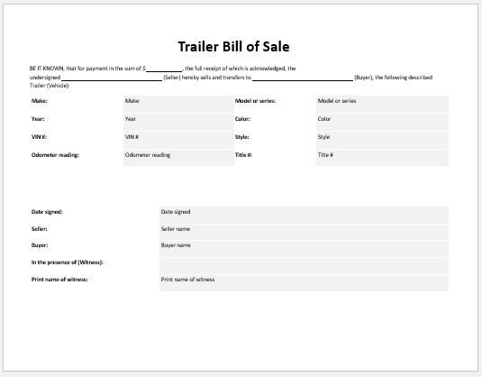 Trailer Bill Of Sale Trailer Bill Of Sale Templates for Ms Word