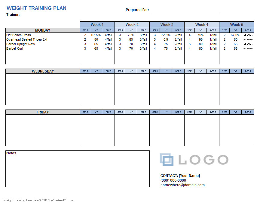 Training Plan Template Excel Weight Training Plan Template for Excel