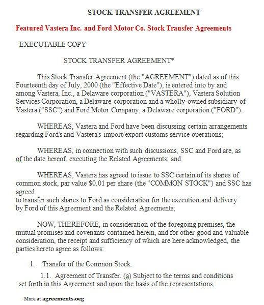 Transfer Of Ownership Agreement Stock Transfer Agreement Sample Stock Transfer Agreement