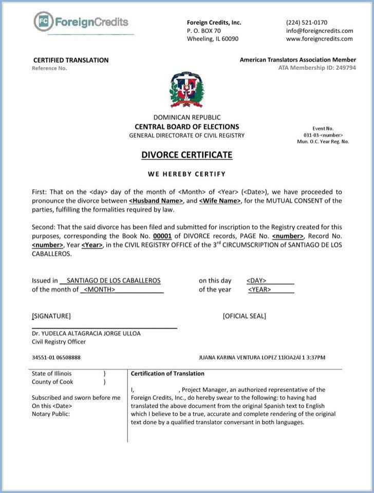 Translation Of Divorce Certificate Template 7 Divorce Certificate Templates Free Download