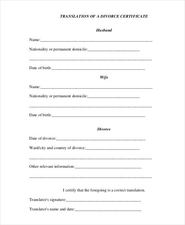 Translation Of Divorce Certificate Template Example Russian Spanish Marriage Drunk Teen Fucked