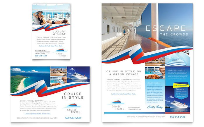 Travel Flyer Template Free Cruise Travel Flyer & Ad Template Design